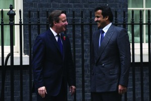 David Cameron greets Emir of Qatar, Sheikh Tamim bin Hamad Al Thani, outside Downing Street