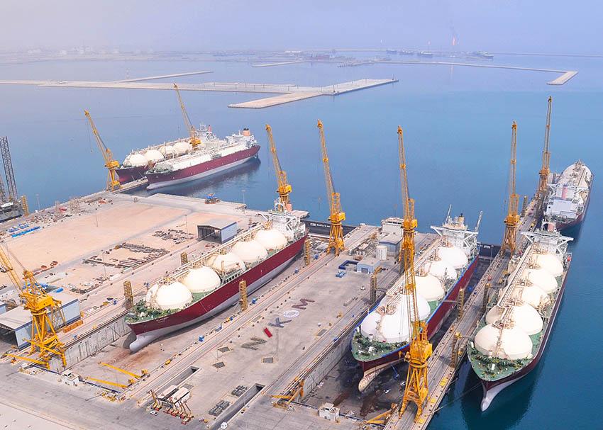 LNG tankers docked at Erhama Bin Jaber Al Jalahma Shipyard, Qatar